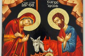 Nativity of Our Lord Icon polished gold halos Orthodox Hand Painted