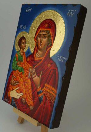 Panagia Tricherousa Icon polished gold halos Greek Orthodox