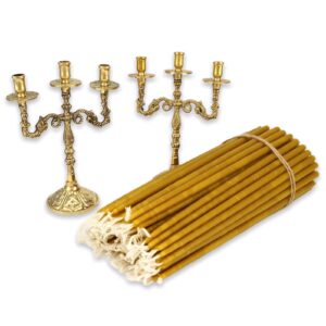 Set of Brass Byzantine Three Candle Holders and Beeswax Candles