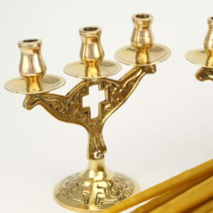 Set of Brass Three Candle Cross Design Holders and Beeswax Candles