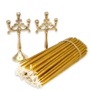 Set of Brass Three Candle Holders and Beeswax Candles