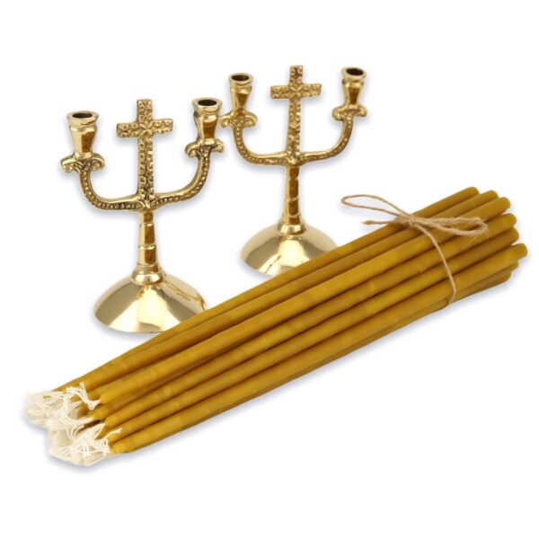 Set of Double Brass Cross Design Candle Holders and Beeswax Candles