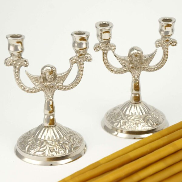 Set of Double Nickel Plated Byzantine Candle Holders and Beeswax Candles
