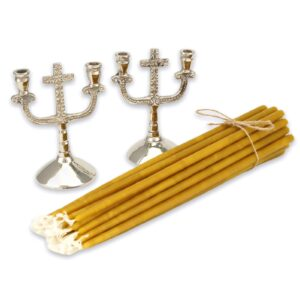 Set of Double Nickel Plated Cross Design Candle Holders and Beeswax Candles