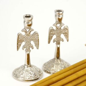 Set of Eagle Design Nickel Plated Candle Holders and Beeswax Candles