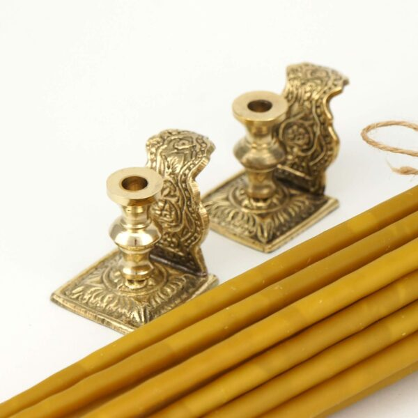 Set of Engraved Brass Byzantine Candle Holders and Beeswax Candles