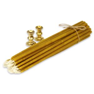 Set of Mini Brass Candle Holders and Beeswax Candles