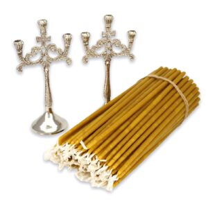 Set of Nickel Plated Three Candle Holders and Beeswax Candles