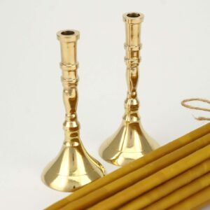 Set of Single Brass Candle Candlesticks and Beeswax Candles