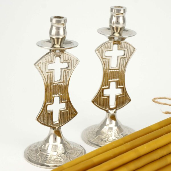 Set of Single Brass Candle Holders Double Cross Design and Beeswax Candles