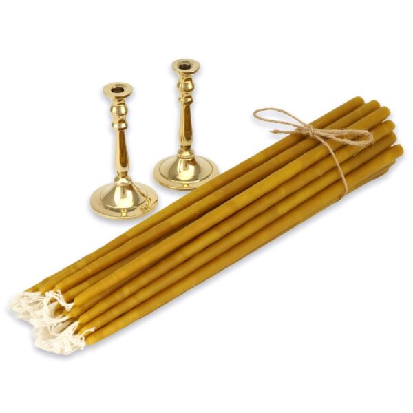 Set of Single Brass Candlesticks and Beeswax Candles