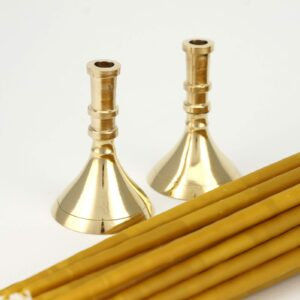 Set of Single Brass Candlesticks and Beeswax Church Candles