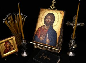 Set of Single Brass Double Cross Orthodox Candle Holders