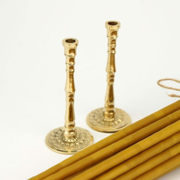 Set of Single Brass Engraved Candlesticks and Beeswax Candles