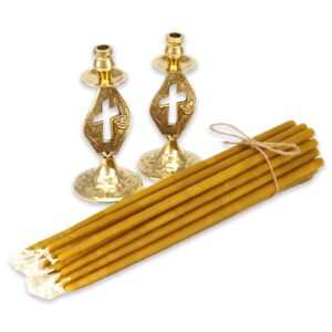 Set of Single Cross Design Candle Holders and Beeswax Candles