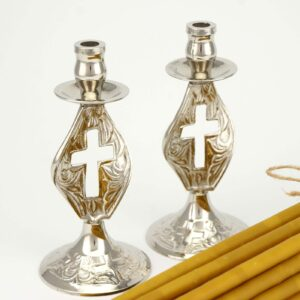 Set of Single Cross Design Nickel Plated Candle Holders and Beeswax Candles