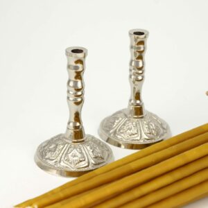 Set of Single Nickel Plated Candle Holders and Beeswax Church Candles