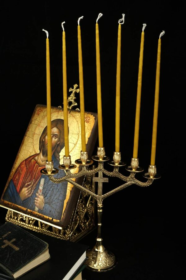 Seven Candle Brass Candelabra Cross Design