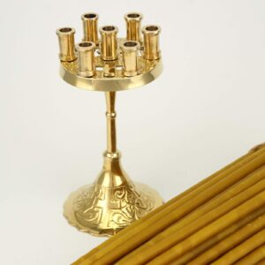 Seven Candle Brass Candle Holder Cross Design and Beeswax Candles