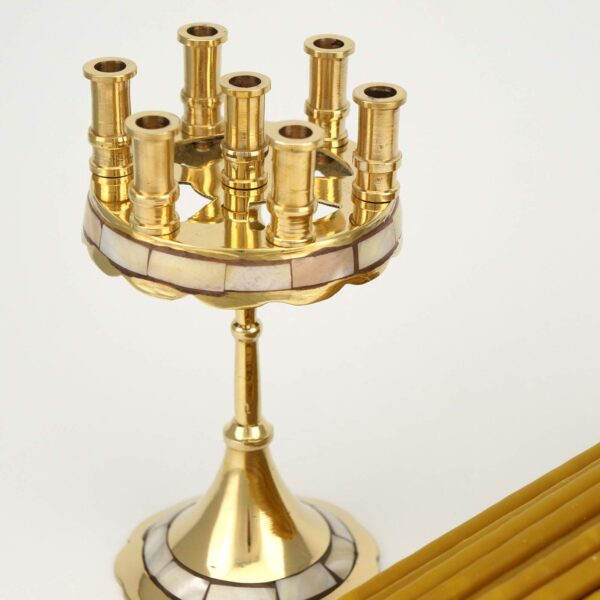 Seven Candle Brass Candle Holder Mother of Pearl Inlay and Beeswax Candles