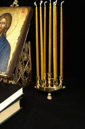 Seven Candle Brass Candle Holder Orthodox Stand