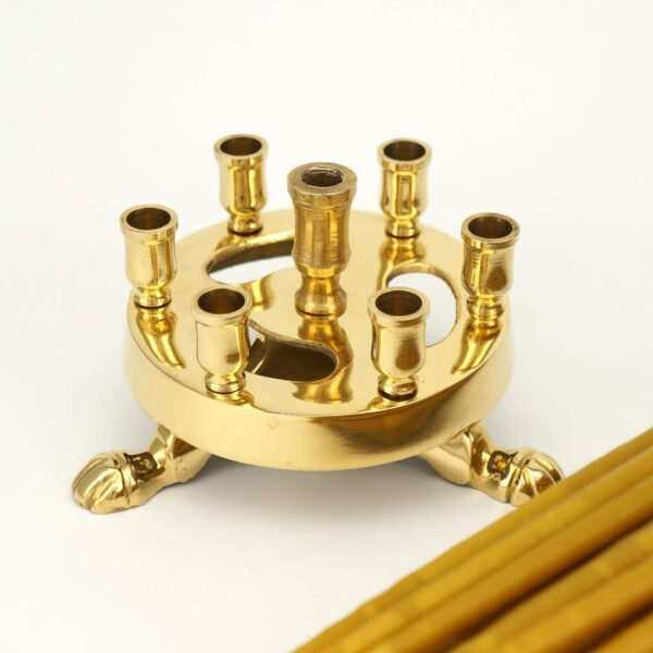 Seven Candle Brass Candle Holder and Beeswax Candles
