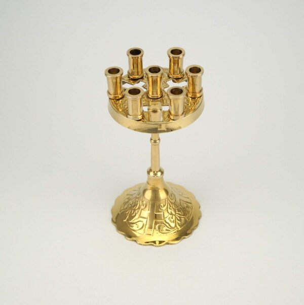 Seven Candle Brass Stand Cross Design