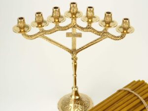 Seven Candle Cross Design Candle Stand and Beeswax Church Candles