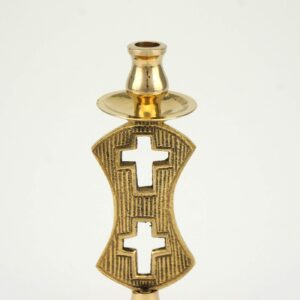 Single Brass Candle Holder Double Cross Design
