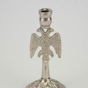 Single Nickel Plated Byzantine Candle Stand Eagle Design