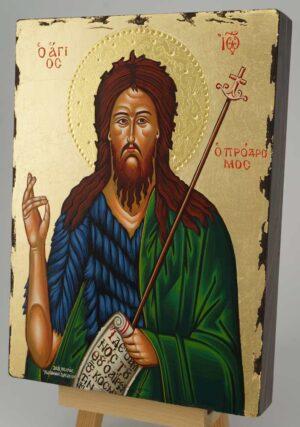 St John the Baptist Icon Greek Orthodox Hand Painted Gold Background