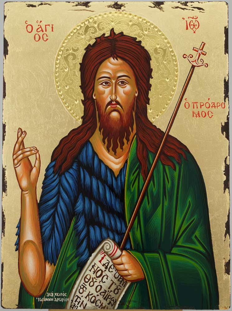 St John the Baptist Icon Greek Orthodox Hand Painted Gold Background