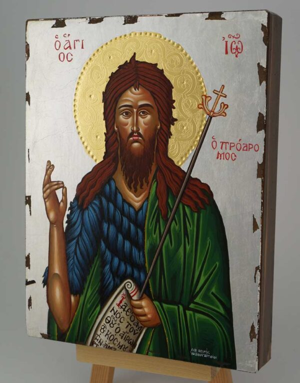 St John the Baptist Icon Greek Orthodox Hand Painted Silver Background