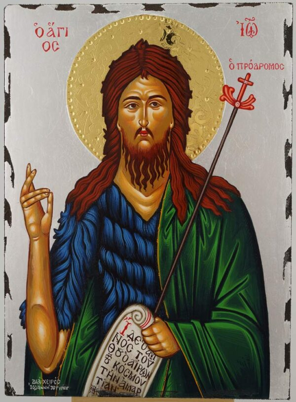 St John the Baptist Icon silver Hand Painted Greek Orthodox