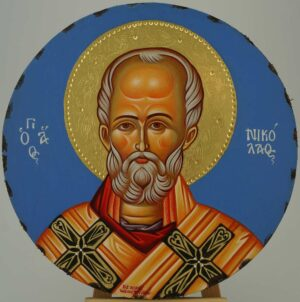 St Nicholas of Myra Round Icon Orthodox Hand Painted