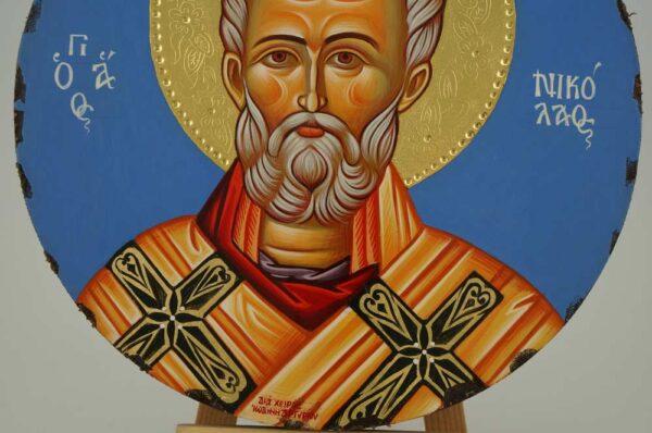 St Nicholas of Myra Round Icon Orthodox Hand Painted