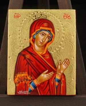 Theotokos Supplicating Icon polished gold miniature Hand Painted Greek Orthodox