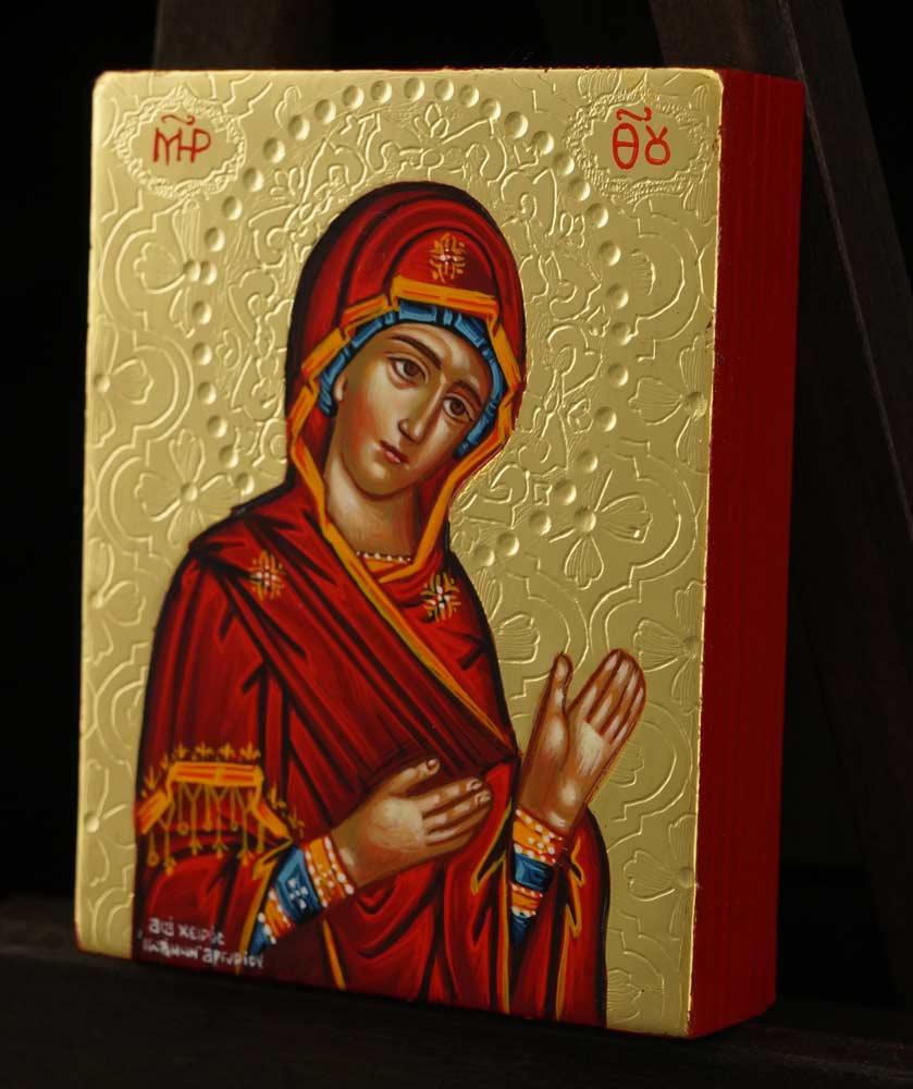 Theotokos Supplicating Icon polished gold miniature Hand Painted Orthodox