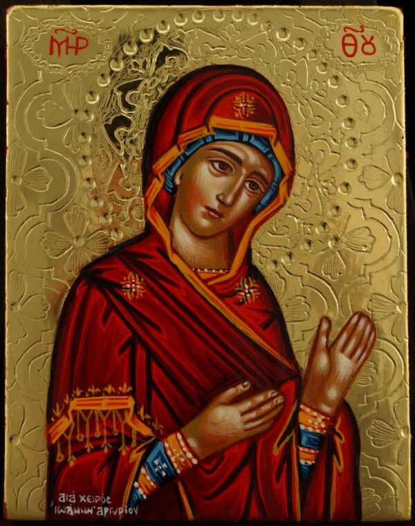 Theotokos Supplicating Icon polished gold miniature Hand Painted Orthodox