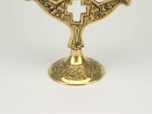 Three Candle Brass Holder Cross Design Orthodox Church