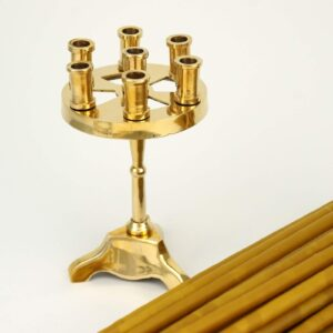 Traditional Brass Seven Candle Holder and Beeswax Church Candles