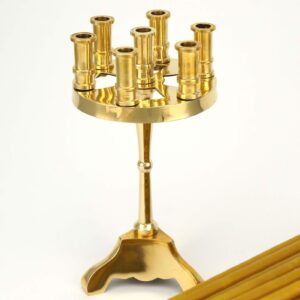 Traditional Brass Seven Candle Stand and Beeswax Church Candles