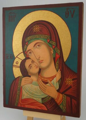 Virgin Mary Eleusa Rila Monastery Icon Hand Painted Bulgarian Orthodox