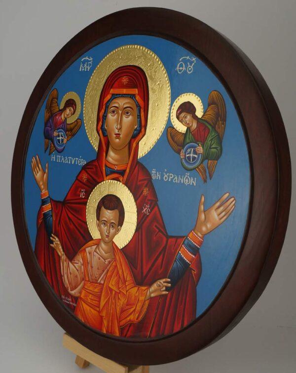 Virgin Mary Oranta Round Icon polished gold halos Hand Painted Greek Orthodox Byzantine
