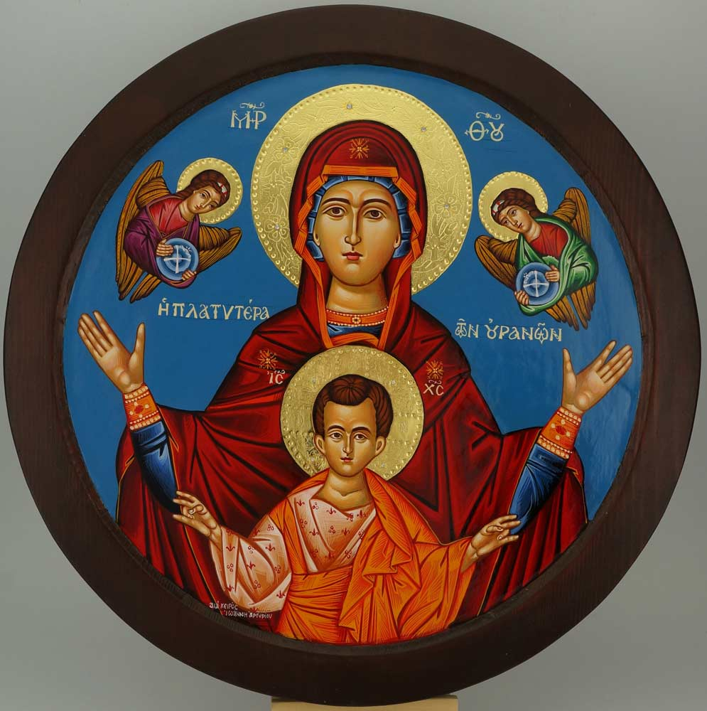 Virgin Mary Oranta Round Icon polished gold halos Orthodox