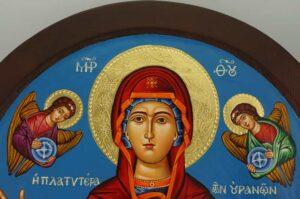 Virgin Mary Oranta Round Icon polished gold halos Orthodox