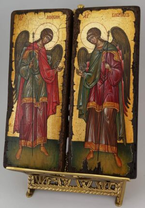 Archangel Michael and Gabriel Icons Novgorod Matching Set Hand Painted Byzantine Orthodox