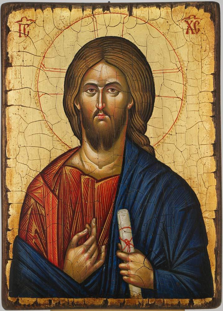 Christ Pantocrator Icon Vatopedi Monastery Hand Painted Byzantine Orthodox