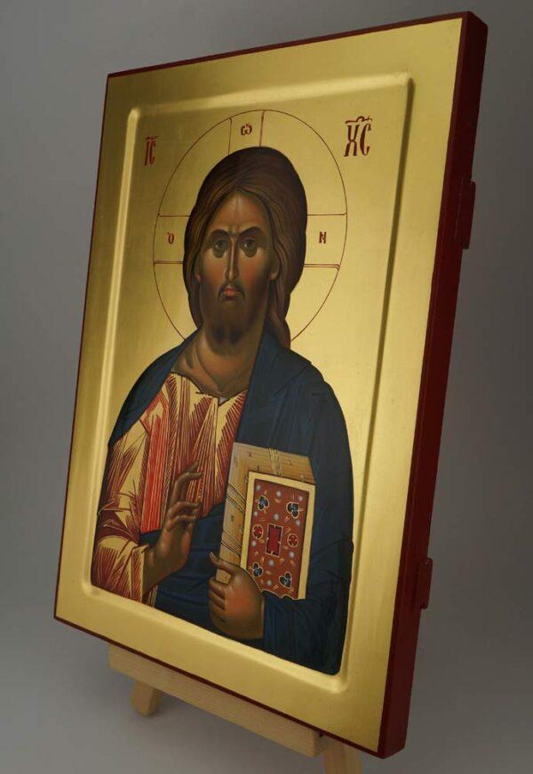 Christ Pantocrator Icon Vatopedi Monastery Hand Painted Byzantine Orthodox Mount Athos