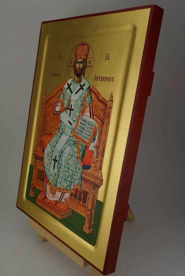 Christ The Great High Priest Icon Hand Painted Byzantine Orthodox Enthroned